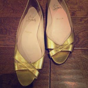 Christian Louboutin Gold Flats